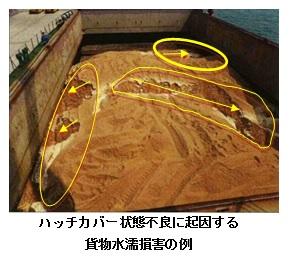 ハッチカバー状態不良に起因する貨物水濡損害の例